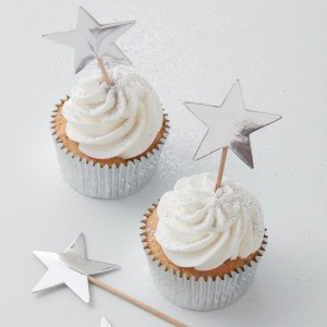 Silver Foiled Star Cupcake Topper