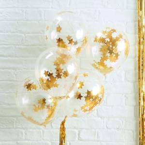 Gold Star Shaped Confetti Filled Balloons