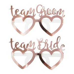Rose Gold Foiled Team Bride Team Groom Fun Glasses