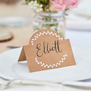 Kraft and White Vine Place Cards