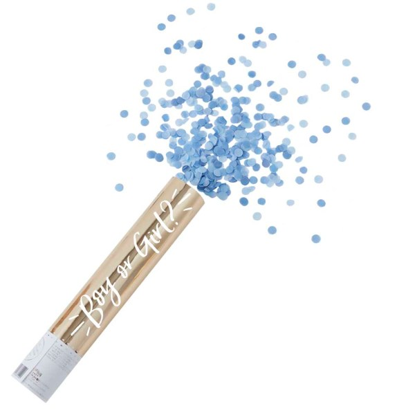 Large Blue Confetti 'Boy or Girl?' Compressed Air Canon