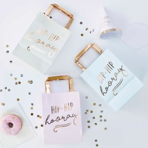 Gold Foiled Hip Hip Hooray Pastel Party Bags