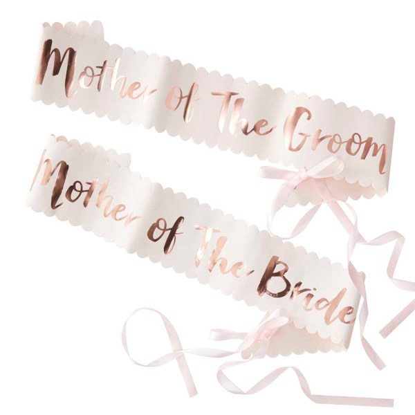 """Pink & Rose Gold """"Mother of the Bride/Groom"""" Sashes"""