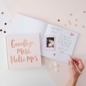 "Rose Gold Foiled ""Goodbye Miss Hello Mrs"" Advice Book"