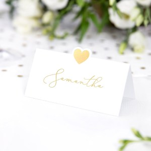 Die Cut Gold Heart Place Cards
