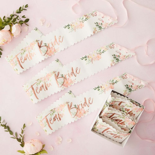 Floral Team Bride Hen Sashes 6 Pack