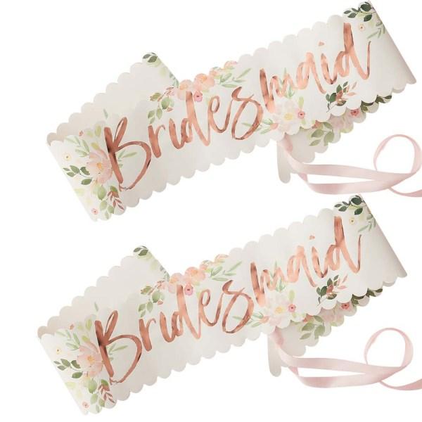 Floral Bridesmaid Sashes - 2 Pack