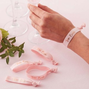 Pink Team Bride Wrist Bands