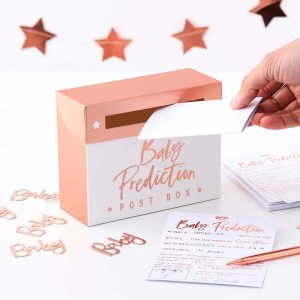 Rose Gold Baby Shower Prediction Box Game