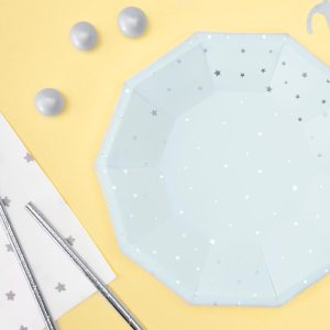 Light Blue & Silver Star Plates