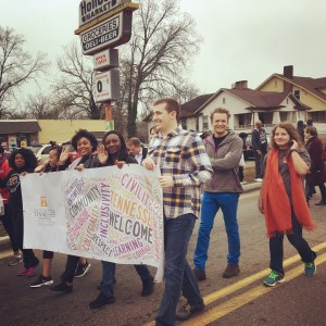 Barton marches with College of Law students during a Martin Luther King Jr. Day parade.