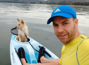 "Ricardo Videla kayaks with his dog, Meela, ""a great companion for the outdoors."""