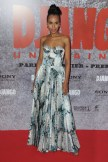 In floral Rochas at the Paris Django Premiere. Love the mix of sweet floral and lingerie-inspired bustier.
