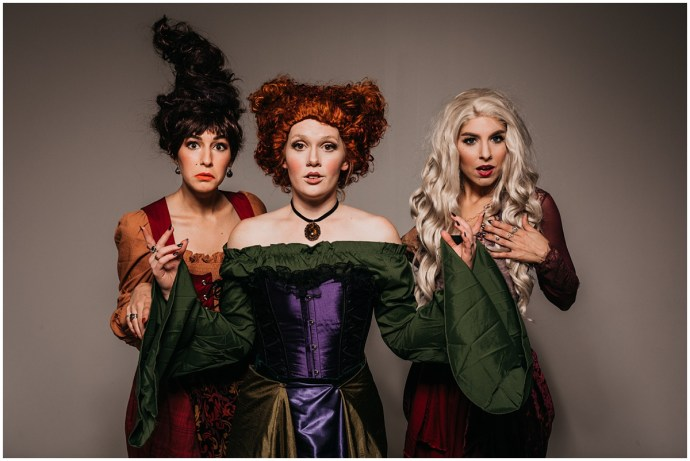 three friends dressed up as the Sanderson Sisters from Hocus Pocus, dressed up for Halloween. Photos for Christmas gifts ideas.