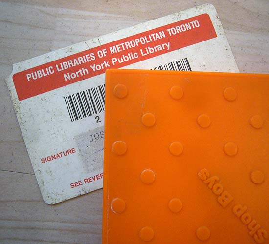 PUBLIC LIBRARIES OF METROPOLITAN TORONTO North York Public Library card under Pet Shop Boys''Very'