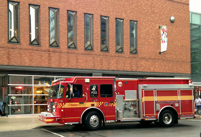 Firetruck outside Reference Library