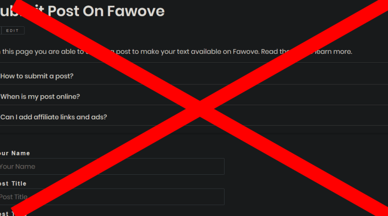 Guest Posts feature on Fawove removed