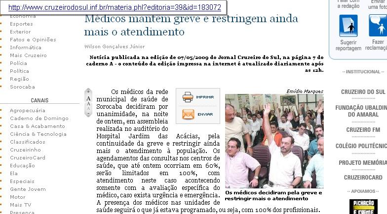 Em Sorocaba, médicos não atenderão mais a consultas no sistema público de saúde.