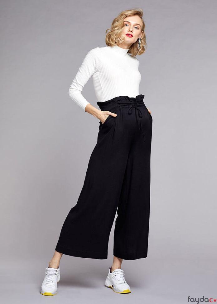 Yüksek bel kemerli dokuma pantolon