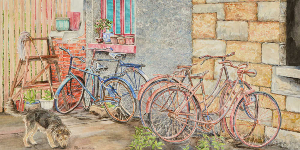 A painting called, 'Backyard bicycles' by Faye Edmondson, watercolours on paper