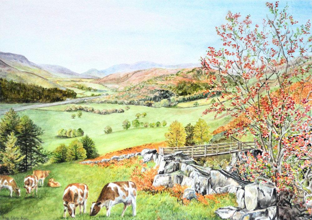 Watercolour painting by Faye Edmondson, 'Down the dale'.