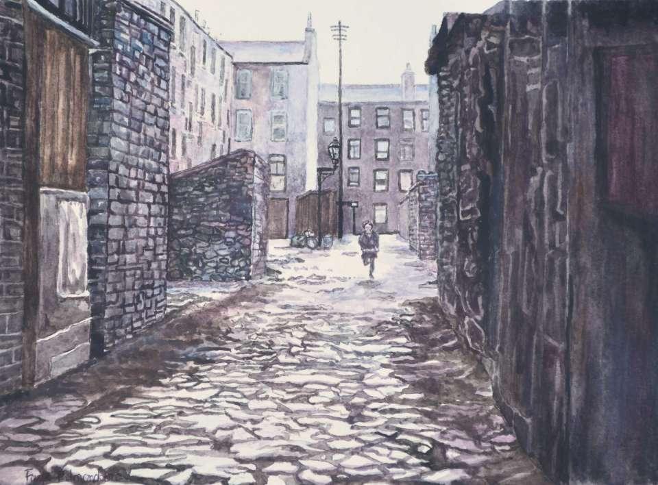 'Backstreet running', a watercolour painting by Somerset artist, Faye Edmondson