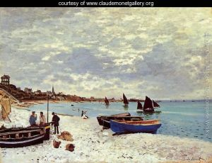 The-Beach-At-Sainte-Adresse Claude Oscar Monet