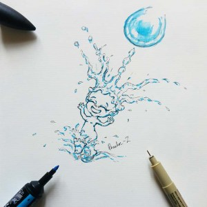 Sketch of a water sprite splashing through a puddle while rain drops form a crown on its head.