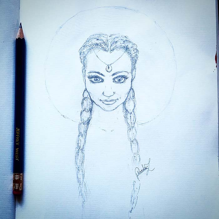 Pencil study for a fantasy portrait done by Phaedon-Z