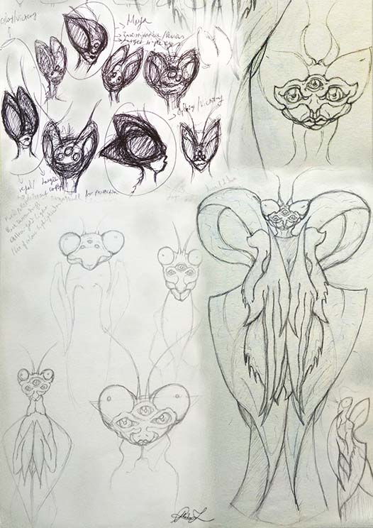 Initial sketches and concepts for the creature development of Glory the Wrathful designed by Phaedon-Z.