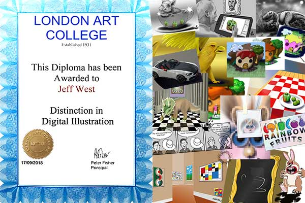 London Art College Digital Illustration diploma and a montage of assignments