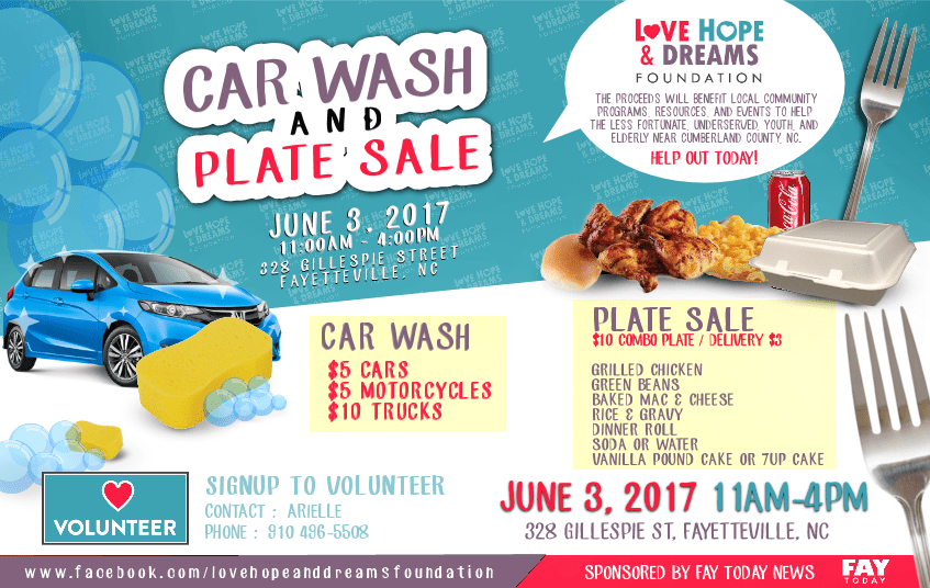 car wash plate sale for community outreach by love hope dreams