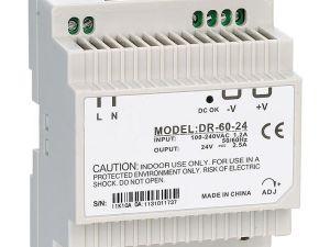 DR-60-24 Τροφοδοτικό ράγας 24VDC/2.5Α θυροτηλεόρασης
