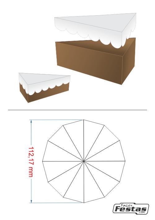 Fatias-de-bolo-Falso-tampa-ondulada Fatias decorativas de bolo falso com tampa ondulada - Bolo Fake de papel