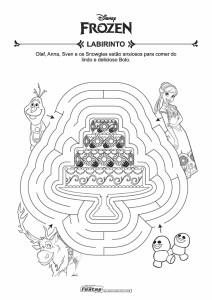 22-Labirinto-Frozen Livrinho de atividades para festa infantil - Frozen