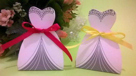 Lembrancinha-Vestido-caixa-para-festa-noiva-03 Moldes de Caixinhas Vestido - Princesas, Fadas, Noivas e Debutantes