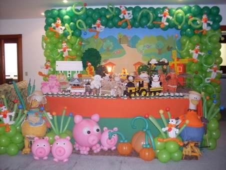 Balões-tema-festa-fazendinha-18 Idéias para festa Infantil com tema Fazendinha para meninos e meninas