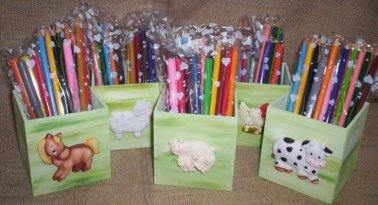 Lembrancinha-aniversário-fazendinha-caixinha-lapis Idéias para festa Infantil com tema Fazendinha para meninos e meninas