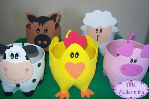 Lembrancinha-aniversário-fazendinha-garrafa-pet-animais Idéias para festa Infantil com tema Fazendinha para meninos e meninas