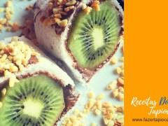 Receitas Doces - Tapioca com amendoim, Kiwi e Nutella
