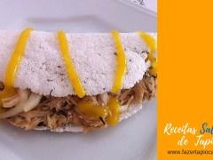 Receitas Salgadas - Tapioca de Frango com mostarda, cebola e molho shoyu