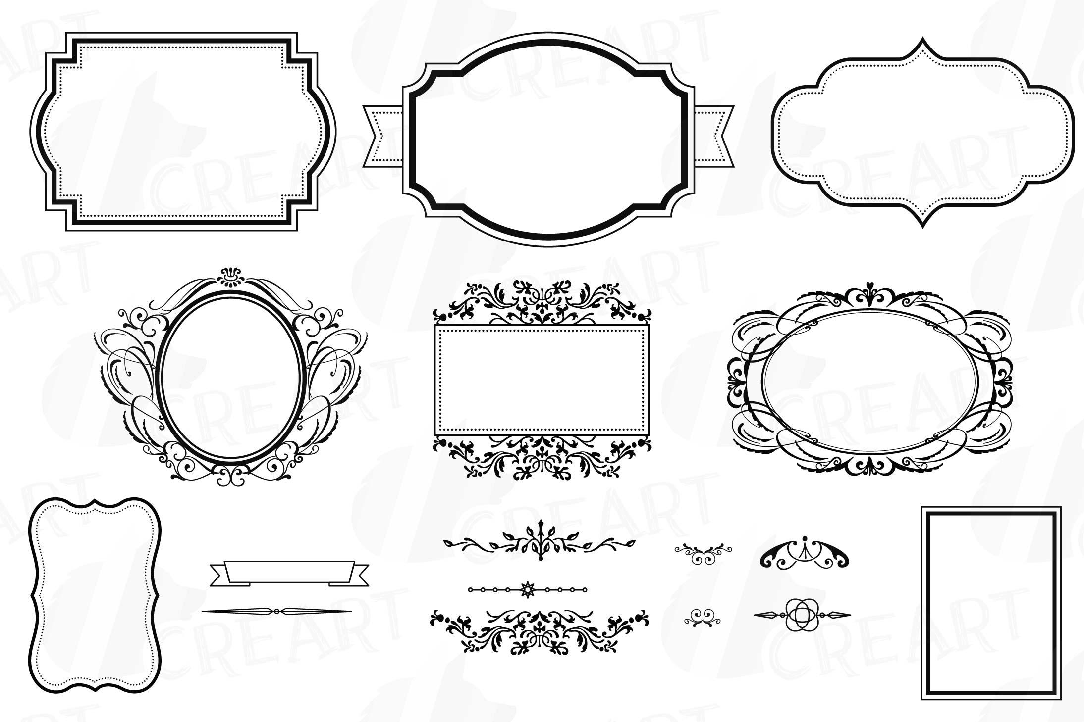 Digital Frames Borders Clip Art Digital Labels Silhouette