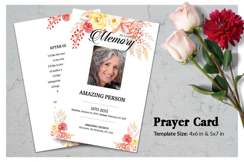 Flower Funeral Prayer Card Template