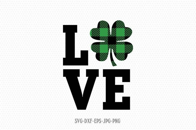 Download buffalo plaid love Shamrock SVG, Saint Patricks Day Svg