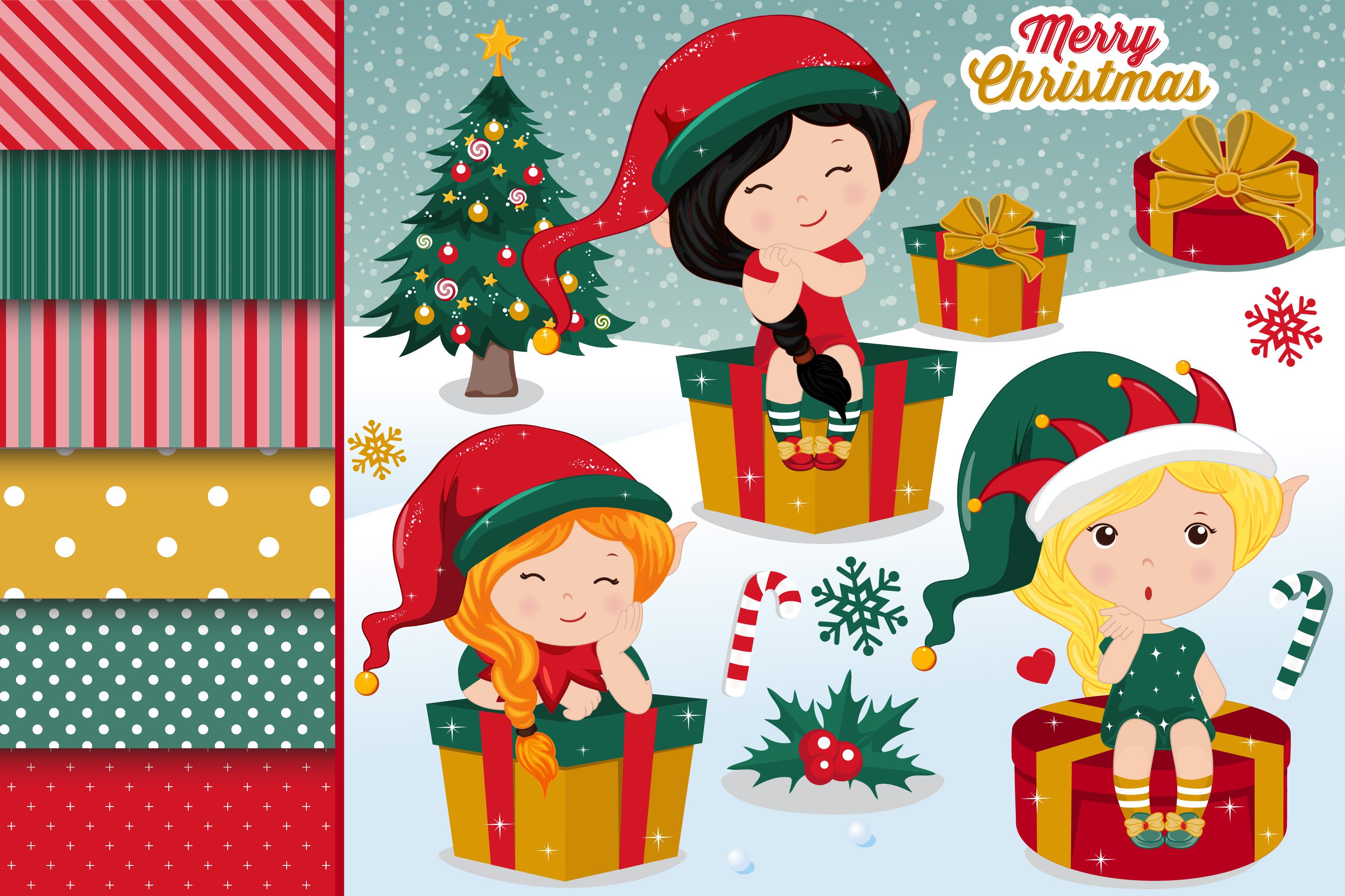 Christmas Elves Illustrations Christmas Elves Graphics