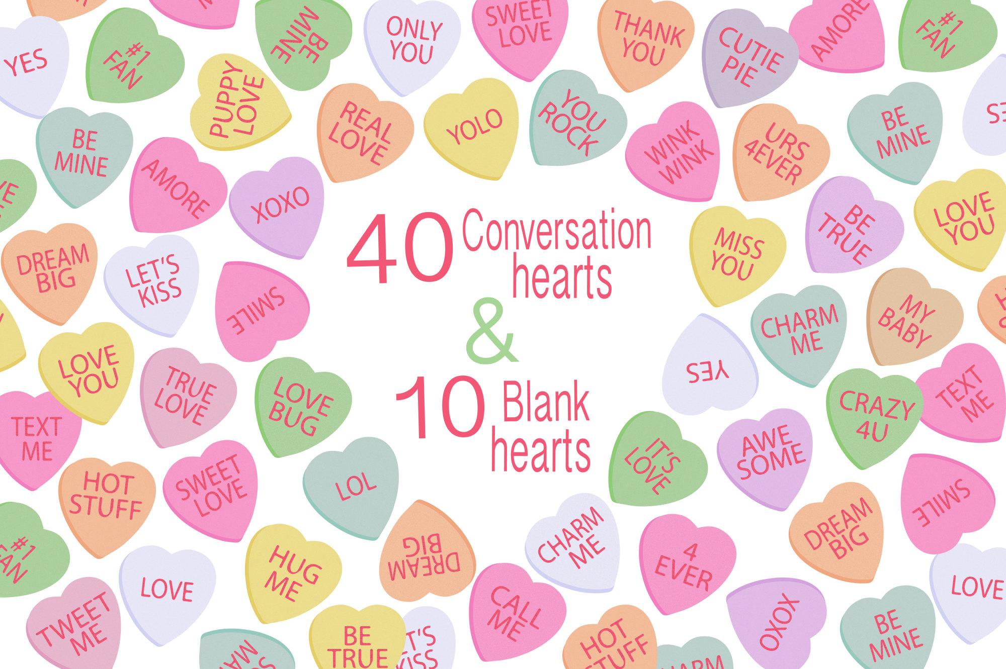 Conversation Hearts Valentine Clipart