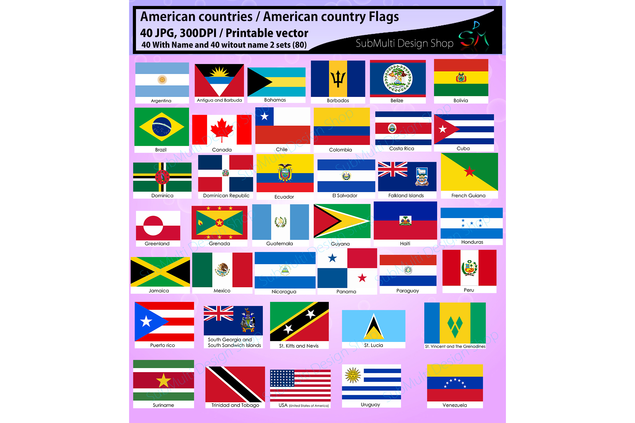 American Countries American Country Flags Country Flag High Quality Vector Flags