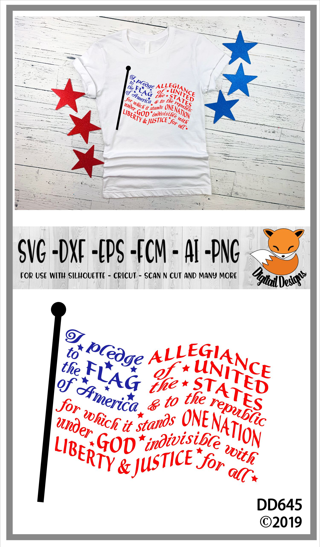 Pledge Of Allegiance Flag Word Art Svg