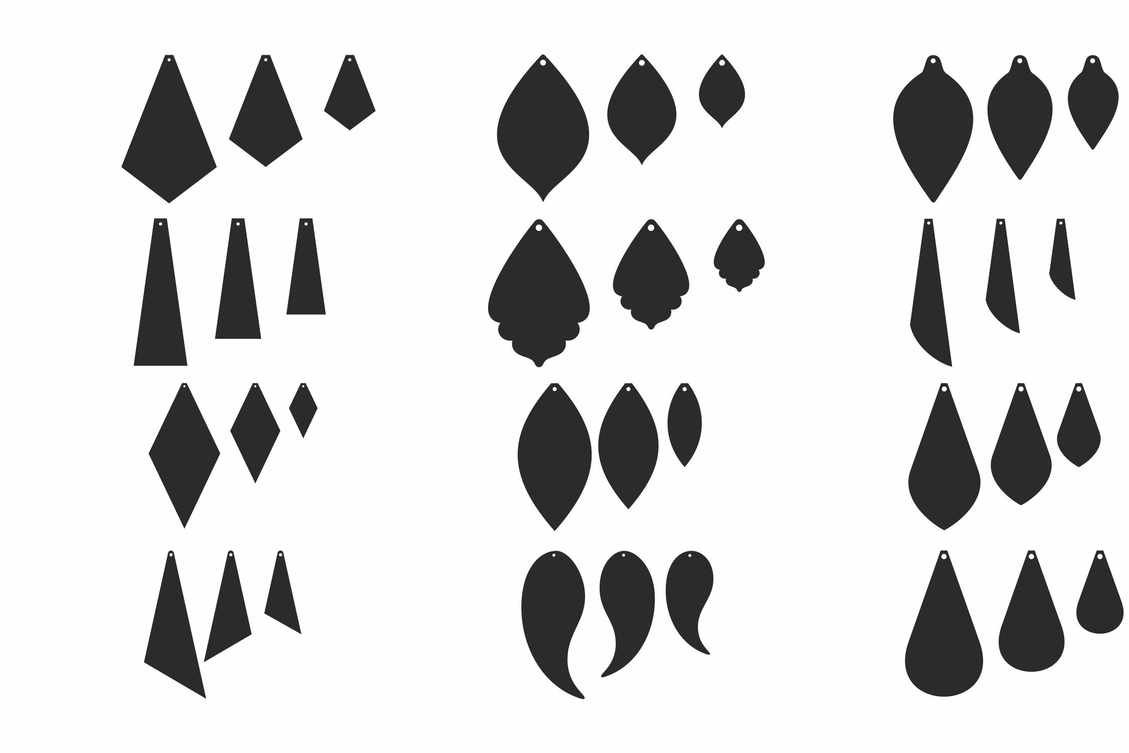 Leather Earrings Earrings Svg Pendant Template Cut Files