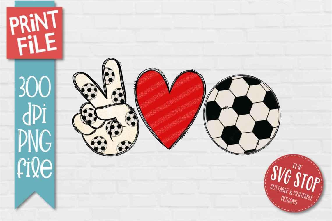 Download Peace Love Soccer Sublimation Design PNG